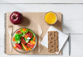 Healthy business lunch snack in office, vegetable salad and coffee Royalty Free Stock Photo