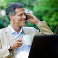 Healthy businessman working outdoor Royalty Free Stock Photo