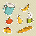 Healthy cartoon food Royalty Free Stock Images