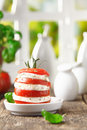 Healthy cheese and tomato salad Stock Photo