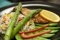 Healthy chicken meal this is a with a light glaze vegetables and rice Stock Photos