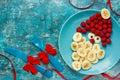 Healthy Christmas dessert snack breakfast for kids - raspberry b Royalty Free Stock Photo