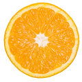 Healthy citrus fruity food slice of fresh orange on a white isolated Stock Images