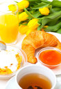 Healthy continental breakfast with brioche Stock Photos