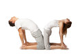 Healthy couple in yoga position on white young background Royalty Free Stock Photo