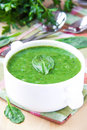 Healthy cream soup herbs white bowl Royalty Free Stock Images