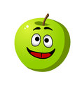 Healthy crisp green apple fruit happy whole fresh with a wide smile and red tongue cartoon illustration isolated on white Stock Photos