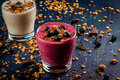 Healthy dessert of yogurt, smoothies, granola, chocolate Royalty Free Stock Photo