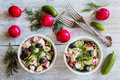 Healthy diet food: vegan vegetable salad with fresh cucumbers, radish, green onion, black olives, dill and feta cheese. Royalty Free Stock Photo