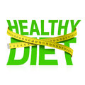 Healthy diet phrase with measuring tape