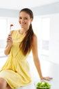 Healthy Diet. Woman Eating Vegetarian Salad. Healthy Eating, Foo Royalty Free Stock Photo