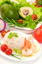 Healthy dietary food background boiled rice vegetables and prawns on white Stock Photos