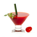 Healthy drink with fresh tomato stylish conical glass containing a smoothie ripe garnished parsley ingredients in the Royalty Free Stock Photos