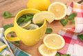 Healthy drink hot tea with mint and lemon Royalty Free Stock Images