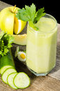 Healthy drink vegetable juice rustic wood Royalty Free Stock Image