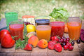 Healthy drinks freshly squeezed fruits and vegetables juices Stock Image