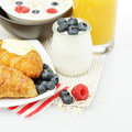 Healthy eating breakfast with croissant berries and orange juice Stock Image