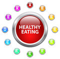 Healthy eating concept with vitamin buttons Stock Images