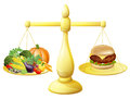 Healthy eating diet decision concept of vegetables on one side of scales and a burger junk food on the other could also be Stock Image