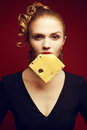 Healthy eating. Food concept. Arty portrait of woman with cheese Royalty Free Stock Photo