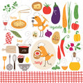 Healthy eating food illustrations collection Stock Photos