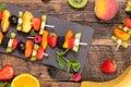 Healthy eating, fruit skewer Royalty Free Stock Photo