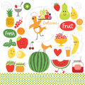 Healthy eating fruits food illustrations collection Royalty Free Stock Photos