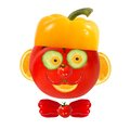 Healthy eating funny face made of vegetables and fruits Royalty Free Stock Images