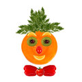Healthy eating funny face made of vegetables and fruits Royalty Free Stock Photo