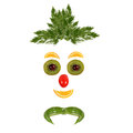 Healthy eating funny face made of vegetables and fruits Royalty Free Stock Photos