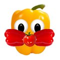 Healthy eating funny face made of vegetables and fruits with op open eyed Stock Photography