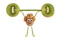 Healthy eating funny little people of the walnut raises kiwi ba bar on white Royalty Free Stock Images