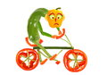 Healthy eating. Funny little  pepper  on a bicycle Royalty Free Stock Photo
