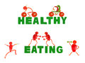 Healthy eating little funny people made of pepper on white Royalty Free Stock Photo