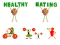 Healthy eating little funny people made of vegetables and fruit fruits Stock Image