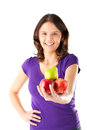 Healthy eating - woman with apples and pear Royalty Free Stock Photo