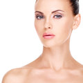 Healthy face of the beautiful woman front portrait with beauty isolated Stock Image
