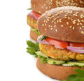 Healthy fast food, veggie burger with vegetables Royalty Free Stock Photo