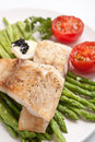 Healthy fish with asparagus Royalty Free Stock Photo