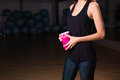 Healthy fitness girl with protein shake. sport and work out girl in gym Royalty Free Stock Photo