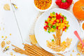 Healthy food art idea for kids shaped autumn tree with colorful Royalty Free Stock Photo