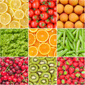 Healthy food background collection of fruits and vegetables Royalty Free Stock Photos