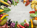 Healthy food background and Copy space. Studio photo of different fruits and vegetables Royalty Free Stock Photo