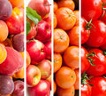 Healthy food background set of various fruits and vegetables Stock Photo