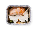 Healthy food in boxes, diet concept. Vegetables, red fish and pita Royalty Free Stock Photo