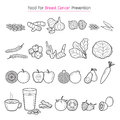 Healthy Food For Breast Cancer Prevention Outline Icons Set