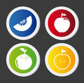Healthy food buttons over black background vector illustration Stock Image