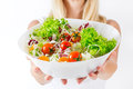 Healthy food closeup of fresh salad in a bowl Royalty Free Stock Photos