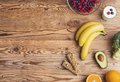 Healthy food composition on a wooden table background Royalty Free Stock Photos