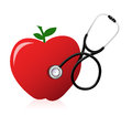 Healthy food concept with a stethoscope illustration design over white Stock Photos